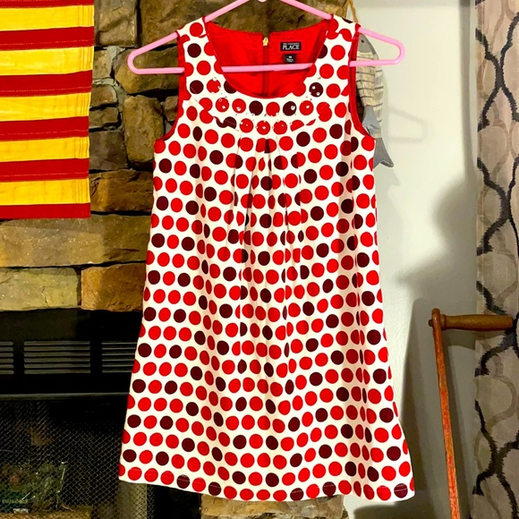 The children's place red polkadot dress size 10